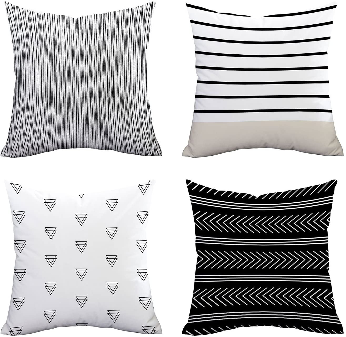 Pillow Covers Set Of 4 Stripe Pattern Throw Pillow Case Daily Decorations Sofa Throw Pillow Case Cushion Covers Zippered Pillowcase 20 X 20 By Buythrow Walmart Com Walmart Com