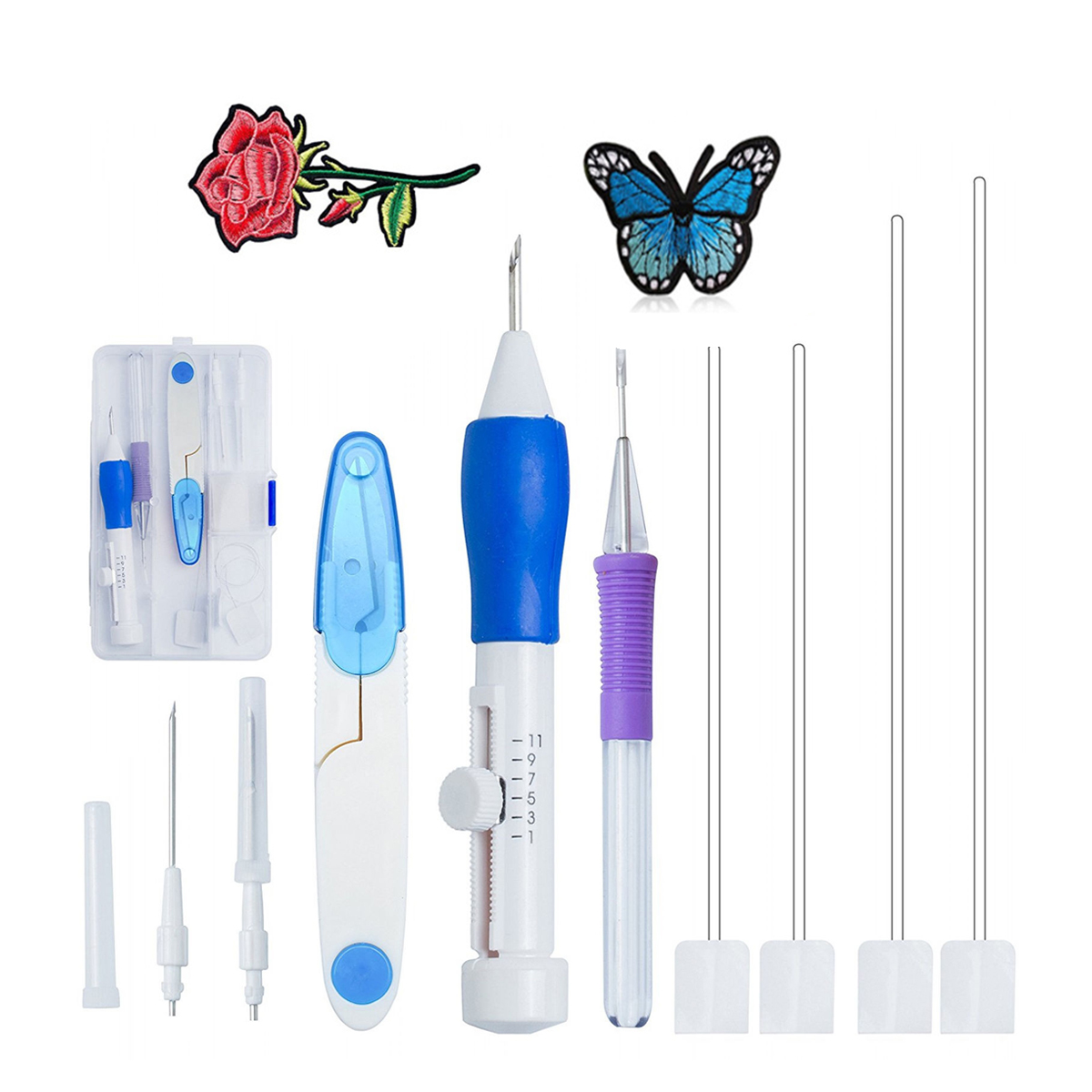 Meigar 1 Set ABS Plastic Diy Magic Embroidery Pen Set Adjustable Knitting Sewing Tool Kit Punch Needle