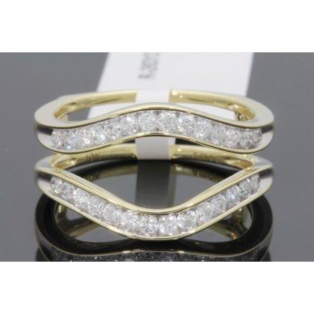 10K YELLOW GOLD SOLITAIRE ENHANCER .57 CT DIAMOND RING GUARD WRAP WEDDING BAND