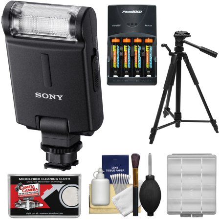 Sony Alpha Hvl F20m External Flash With Batteries   Charger   Tripod   Accessory Kit