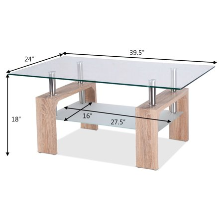 Costway Rectangular Glass Top Coffee Table Tea Table Wood W Shelf Walmart Canada