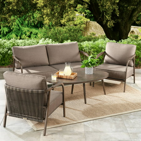 Home Garden Patio - Better Homes & Gardens Arlo 4-Piece Patio Loveseat Set with Brown Cushions