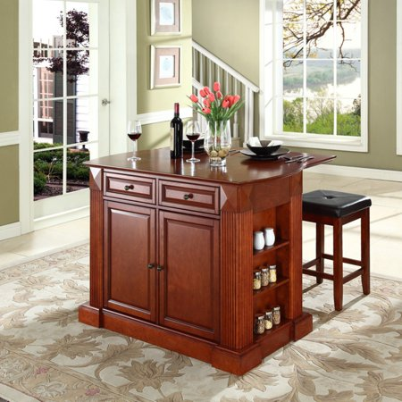 Astonishing Crosley Furniture Drop Leaf Breakfast Bar Top Kitchen Island With 24 Upholstered Square Seat Stools Andrewgaddart Wooden Chair Designs For Living Room Andrewgaddartcom