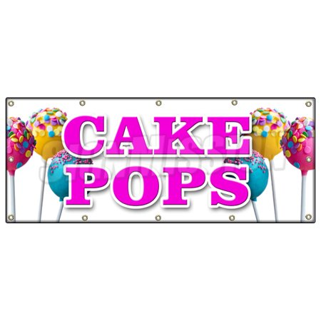Image of CAKE POPS BANNER SIGN on a stick gifts holiday homemade snack fresh