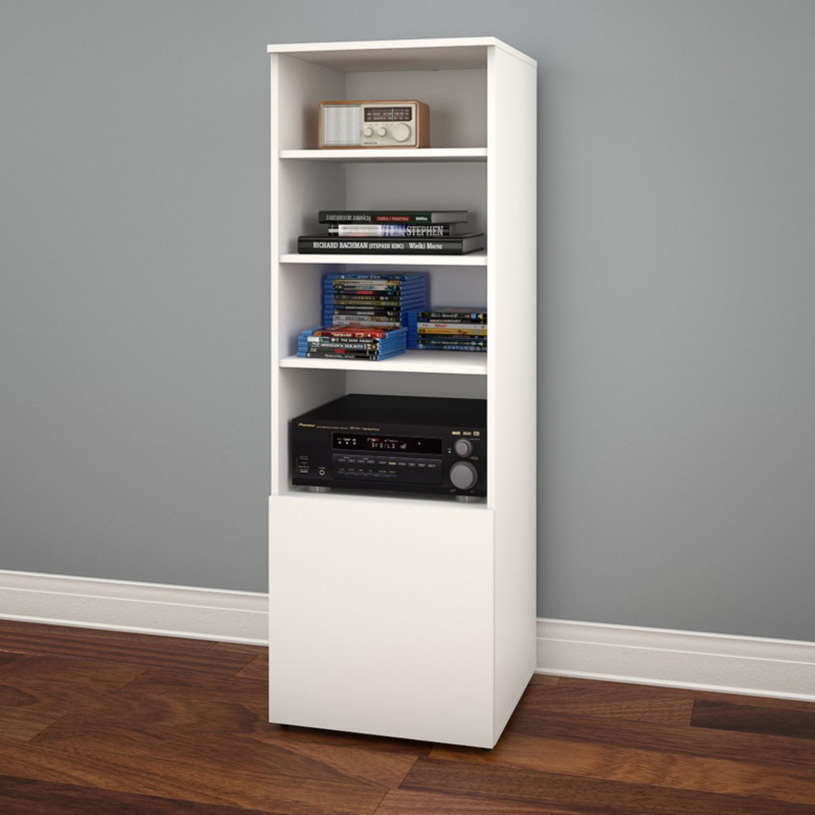 Nexera Arobas Bookcase/Audio Tower, White