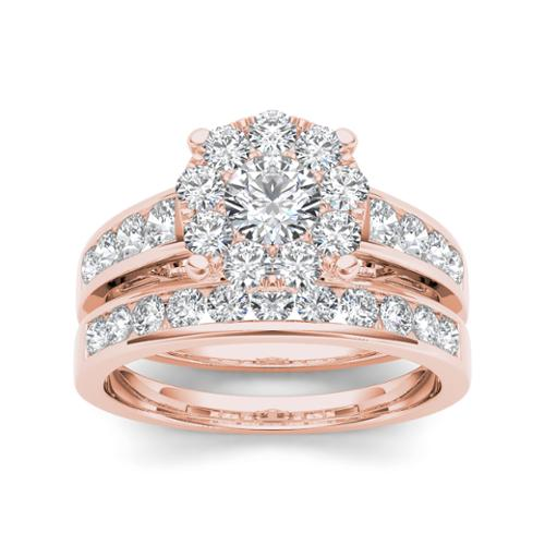 De Couer 10k Rose Gold 1 1/2ct TDW Diamond Cluster Engagement Ring Set with One Band (H-I, I2) Size-7.5