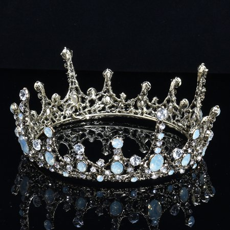 Baroque Bridal Jewelry Vintage Crystal Pearl Queen Crown Tiaras - Queen Tiara