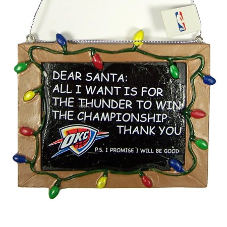 Oklahoma City Thunder Official NBA 3 inch x 4 inch Chalkboard Sign Christmas Ornament by Forever Collectibles
