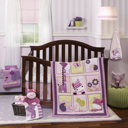 Lambs Ivy Hopscotch Jungle 3 Piece Crib Bedding Set Pink Purple