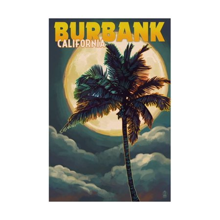 Burbank, California - Palm and Moon Print Wall Art By Lantern Press - Halloween In Burbank California