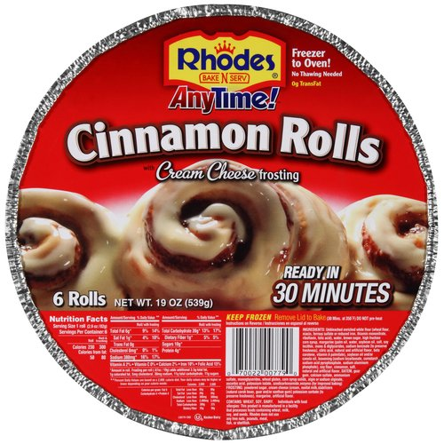 Rhodes Anytime Cinnamon Rolls w/Cream Cheese Frosting, 6 ct