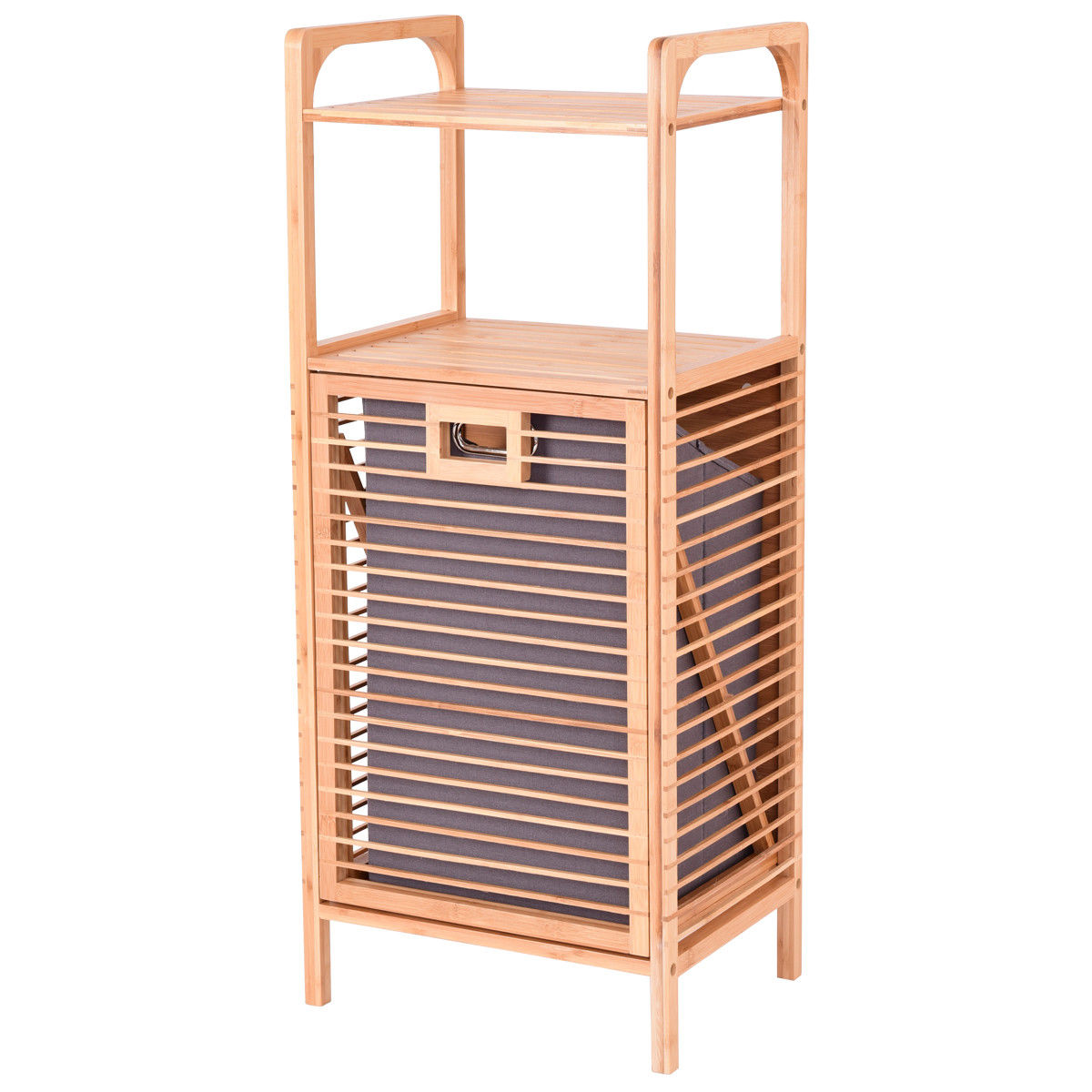 Costway Laundry Hamper Tilt Out Bin Bamboo Shelf Slat Frame Space Saving Storage