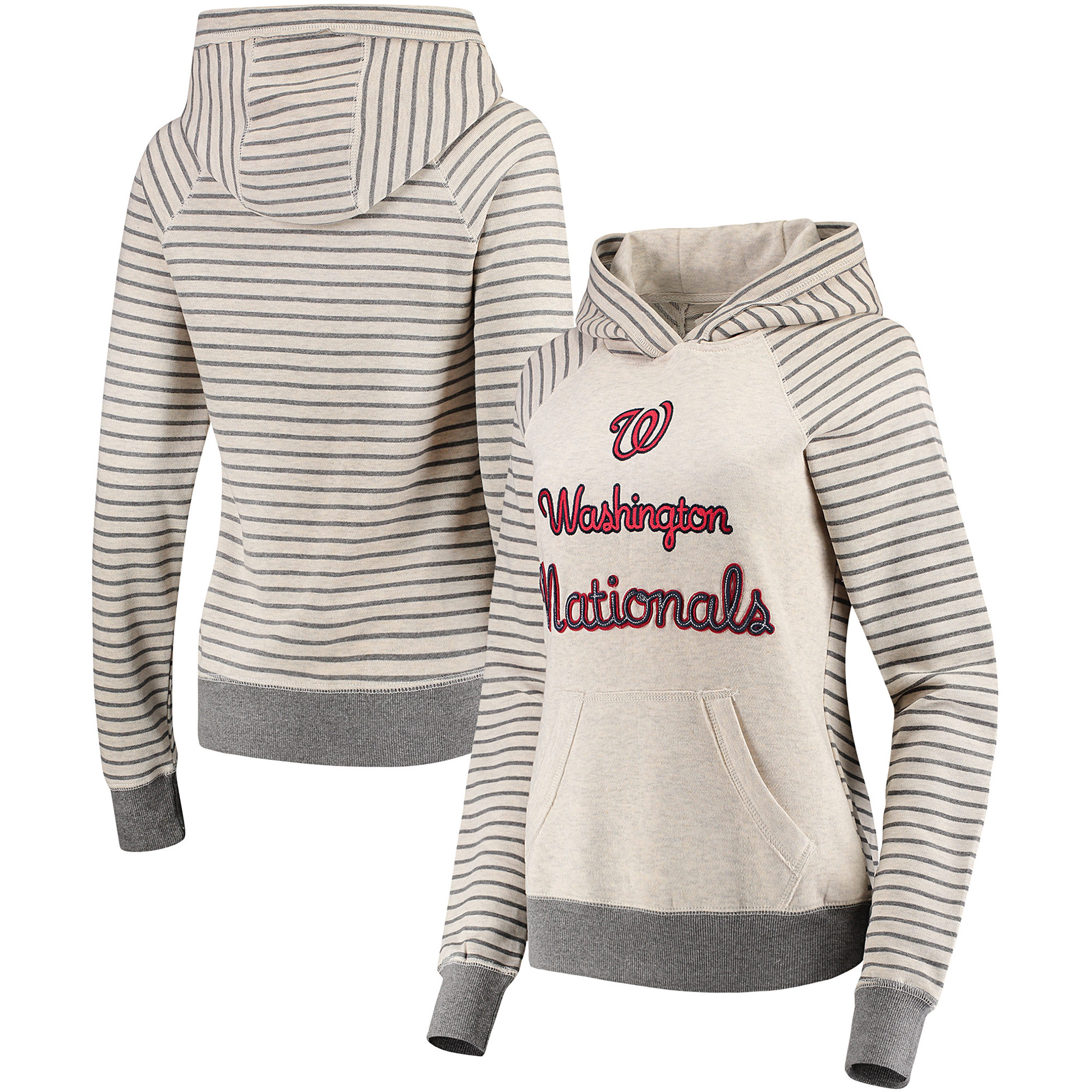 Washington Nationals Soft as a Grape Women's Bio Washed Stripe Sleeve Pullover Hoodie - Cream/Gray