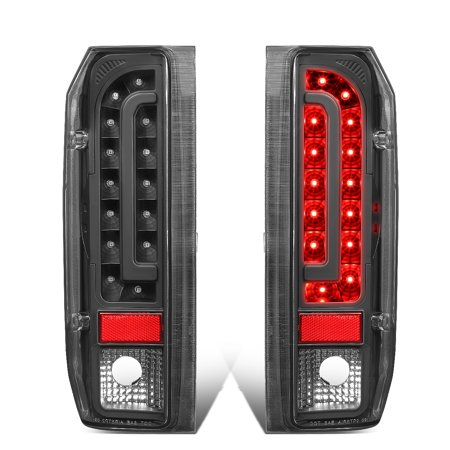 For 1990 to 1997 Ford F150 / F250 / F350 / Bronco / F Super Duty Styleside Pair Full LED Tail Brake Light Lamps (Black) 91 92 93 94 95 96 ()