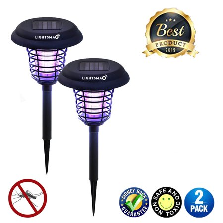 Solar Powered Mosquito (LIGHTSMAX Solar Powered Light, Mosquito and Insect Bug Zapper-LED/UV Radiation Outdoor Stake Landscape Fixture for Gardens, Pathways, and Patios 2 PKS )