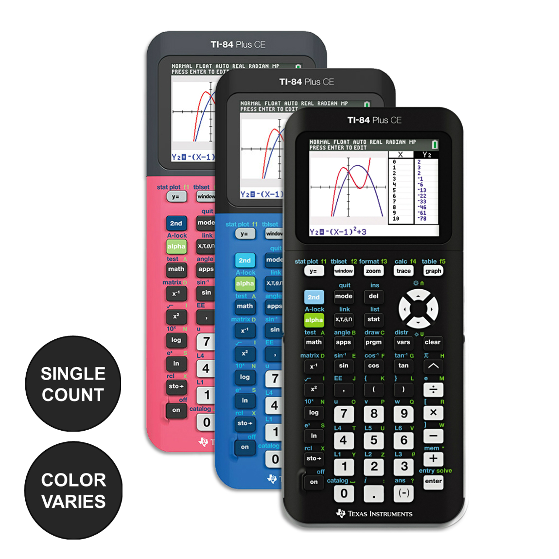 Texas Instruments Ti-84 Plus CE Graphing Calculator (Color: Assorted)
