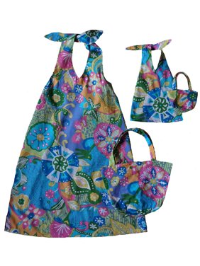 Doll Clothes Superstore Size 7 Matching Girl And Doll Glitter Beach Cover Up Sundress and Purse