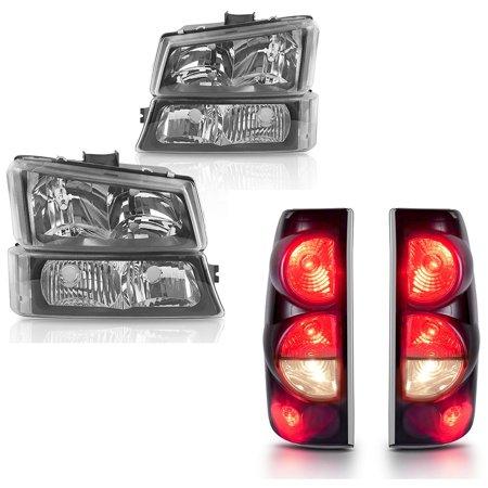 for 2003-2006 Chevy Silverado 1500 2500 2500HD Headlights Black + SMOKE Tail Light Set Chevy Silverado 1500 Pickup Tail