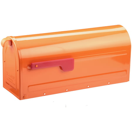 Architectural Mailboxes® Orange Post Mount Mailbox with Red Flag