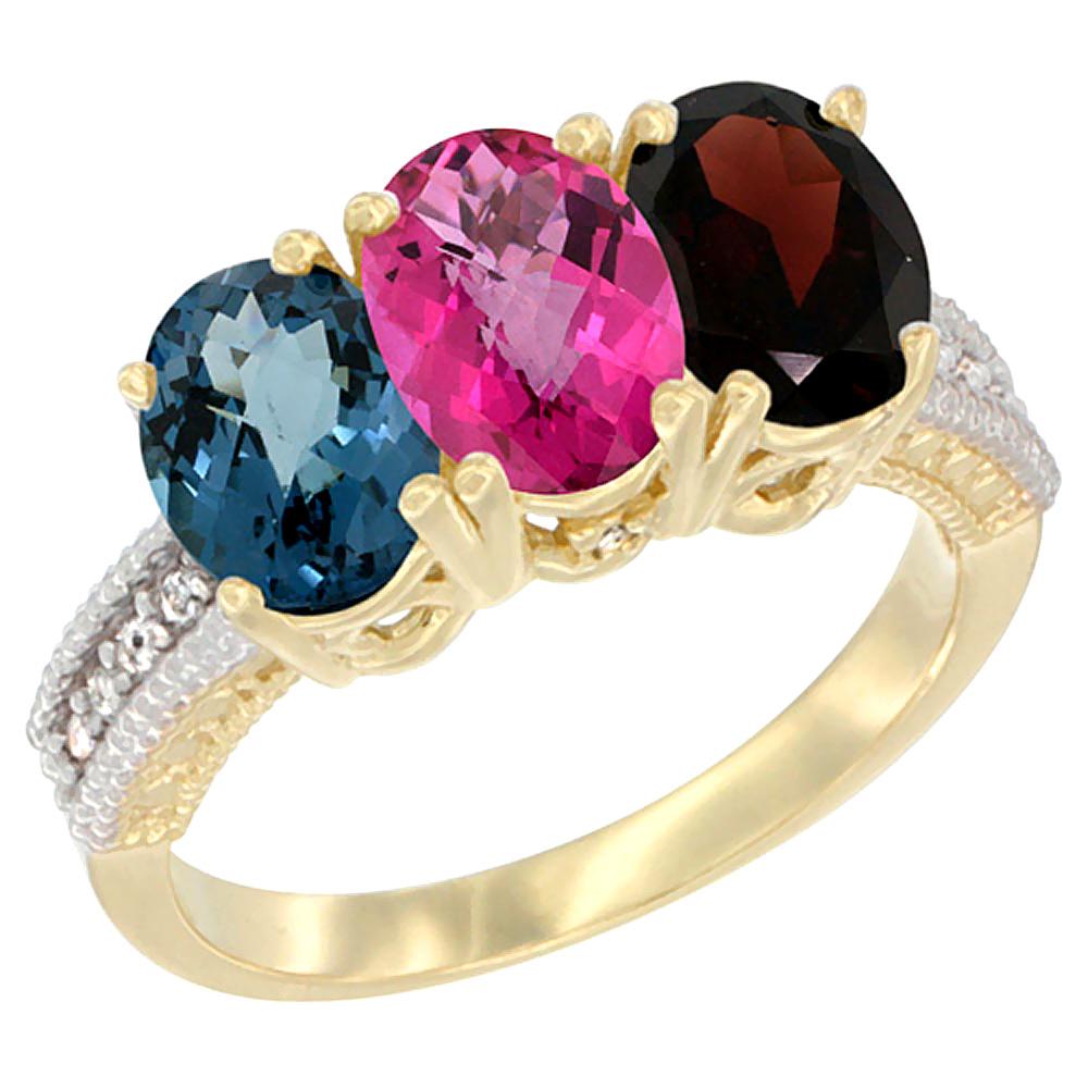10K Yellow Gold Diamond Natural London Blue Topaz, Pink Topaz & Garnet Ring 3-Stone Oval 7x5 mm, sizes 5 10 by WorldJewels