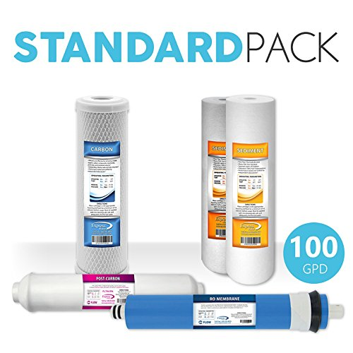 Express Water Reverse Osmosis Replacement Filters Set Coconut Shell Carbon Sediment Inline 100 GPD Membrane