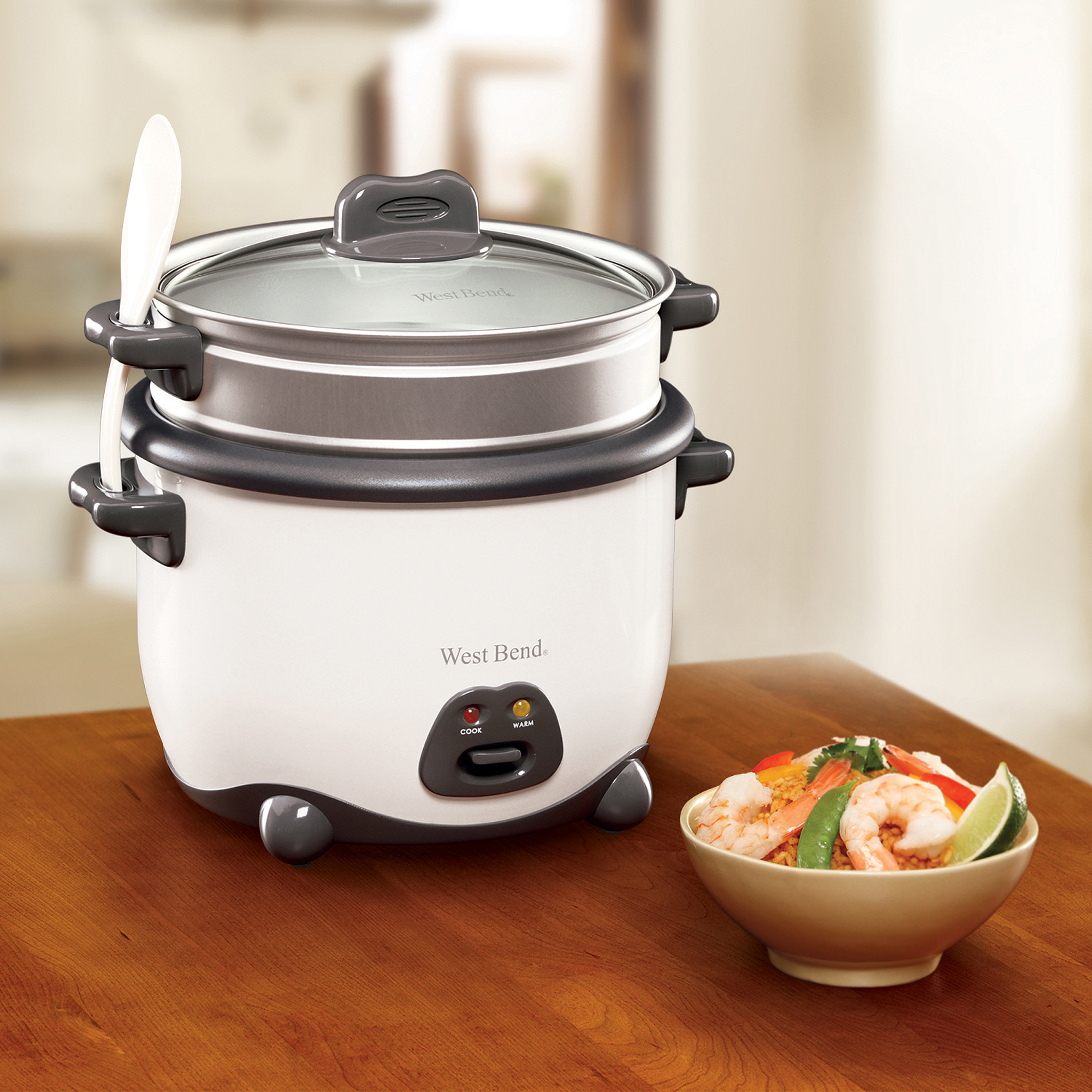 West Bend 10-Cup Rice Cooker, White