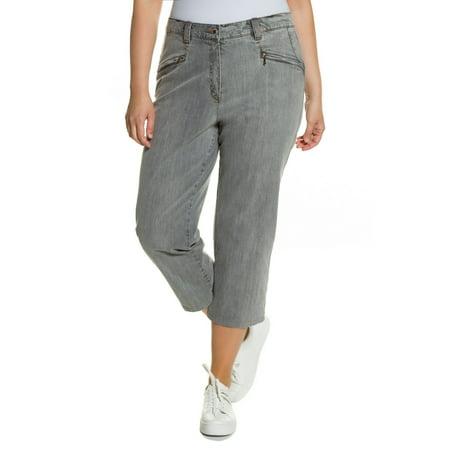 fe56ed656afda Ulla Popken Women s Plus Size Mony Stretch Denim Capri Pants 653935 -  Walmart.com