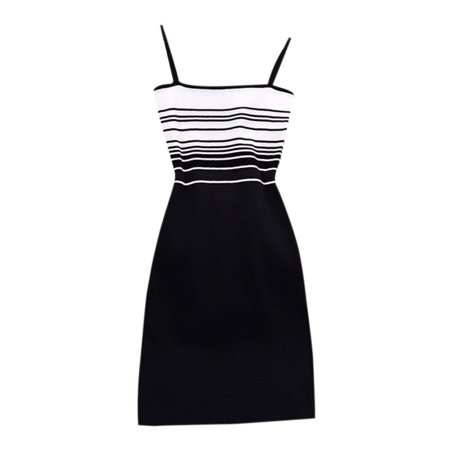 Women Retro Striped Patchwork Knit Bodycon Dress Casual Sleeveless Tights Stretch Hips Mini Dress Women Sexy Slim Sling Dresses Stretch Knit Dress