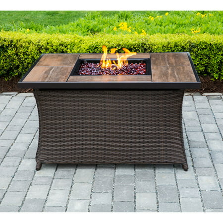 Hanover 40 000 Btu Woven Fire Pit Coffee Table With Woodgrain Tile Top And Burner Lid