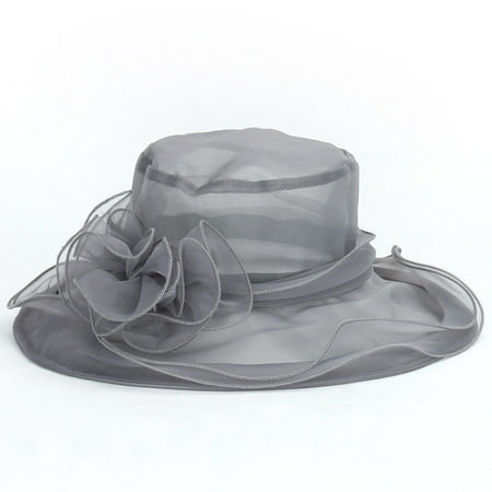 Fashion Women Dress Church Wedding Kentucky Derby Wide Brim Foldable Sun Hat Beach Gray - White Derby Hat