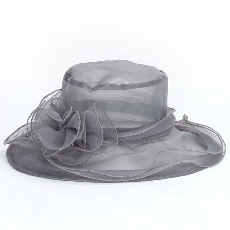 Fashion Women Dress Church Wedding Kentucky Derby Wide Brim Foldable Sun Hat Beach Gray - Orange Derby Hat