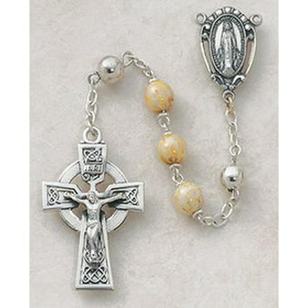 cb catholic sp392 7 mm sterling silver semi-precious connemara marble rosary ()