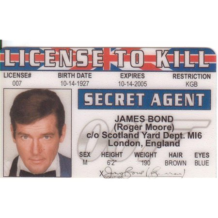 License To Kill   James Bond   Roger Moore Novelty Id Card