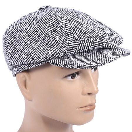 3Colors Fashionable Herringbone Men Warm Cotton Duckbill Hat Newsboy Cabbie Ivy Cap , Cotton Ivy Cap,Men Duckbill Hat - Black Cabbie Hat