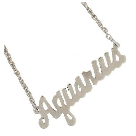 Aquarius Zodiac Sign Silver Tone Astrology Nameplate Pendant Necklace