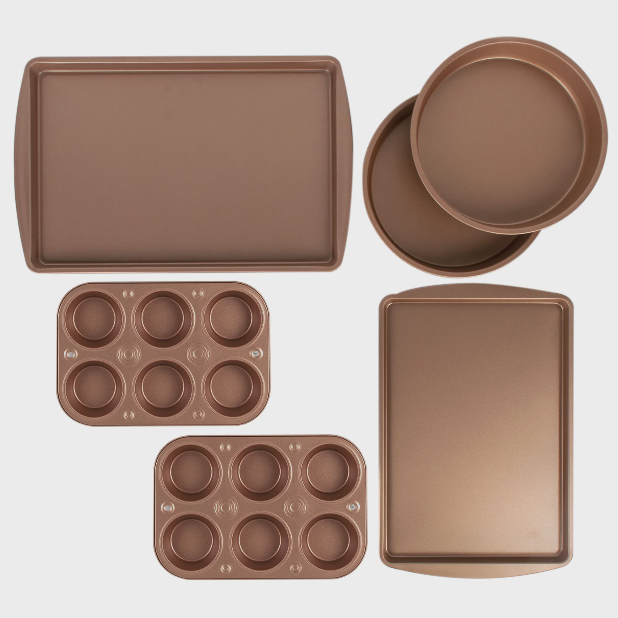 BakerEze 6 Piece Copper Nonstick Bakeware Set, Muffin Pans, Cake Pan, Cookie Pans by G&S Metal Products Company, Inc.