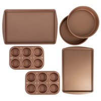 BakerEze 6 Pc Copper Nonstick Bakeware Set, Muffin Cake & Cookie Pans