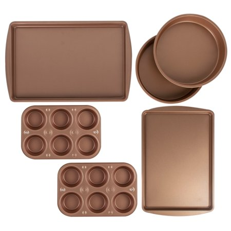 BakerEze 6 Pc Copper Nonstick Bakeware Set, Muffin Cake & Cookie Pans (Pan For Toaster Oven)