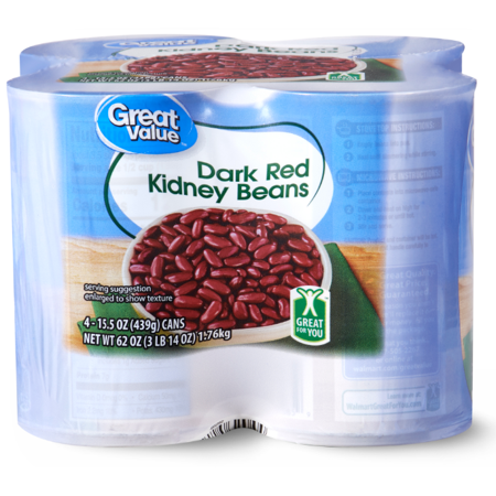 (2 Pack) Great Value Dark Red Kidney Beans,15.5 Oz, 4 (Louisiana Red Beans)