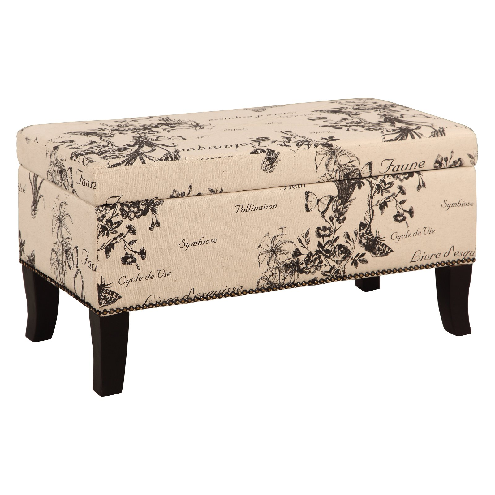 Linon Stephanie Botanical Linen Bench/Ottoman, 18 inches Tall