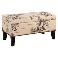 Product Image Linon Stephanie Botanical Linen Bench Ottoman 18 Inches Tall