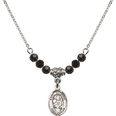 Jet Beaded Necklaces Pendants (18-Inch Rhodium Plated Necklace with 4mm Jet Birth Month Stone Beads and Saint Raymond Nonnatus Charm)