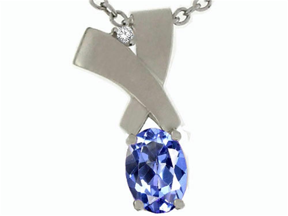 Tommaso Design Oval 7x5mm Genuine Tanzanite Pendant Necklace by