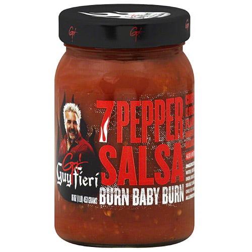 Guy Fieri Hot 7 Pepper Salsa, 16 oz, (Pack of 6)