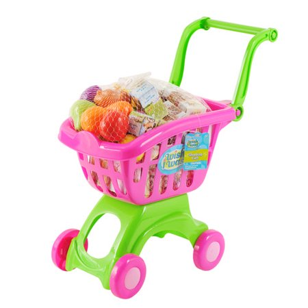 Wish I Was Shopping Cart The Wish I Was Shopping Cart promotes fun imaginative play. This colorful shopping cart features easy-to-move plastic wheels and a basket. It also comes with 12 pieces of plastic play food and 18 paper box play food. This kids' play shopping cart is a fun way for children to mimic the action of grocery shopping at home.