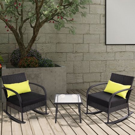 Gymax 3PC Rocking Chair Bistro Set Rattan Wicker Outdoor Patio FurnitureSet W/Cushion - Animated Halloween Rocking Chair