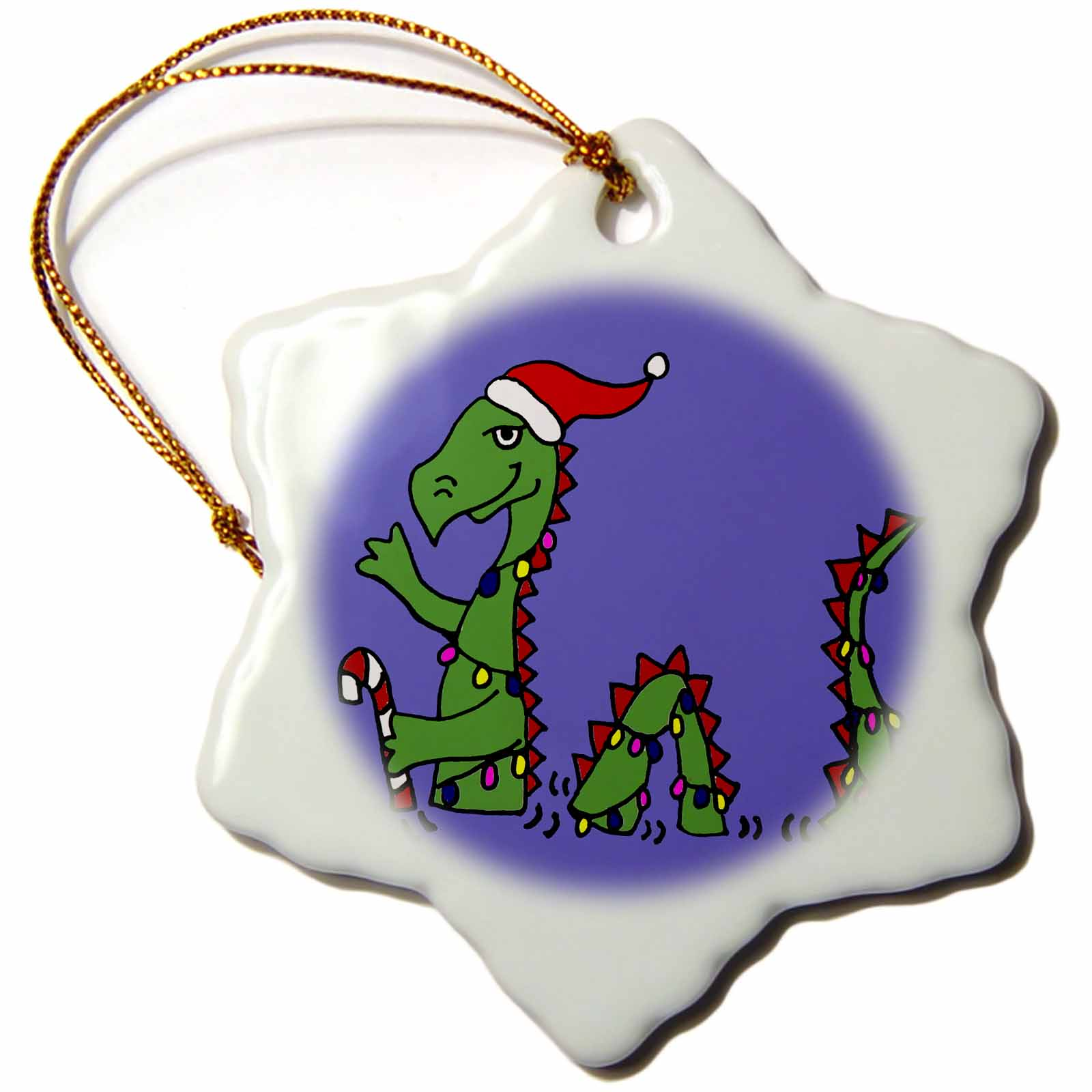 3dRose Funny Loch Ness Monster in Santa Hat Christmas Original, Snowflake Ornament, Porcelain, 3-inch