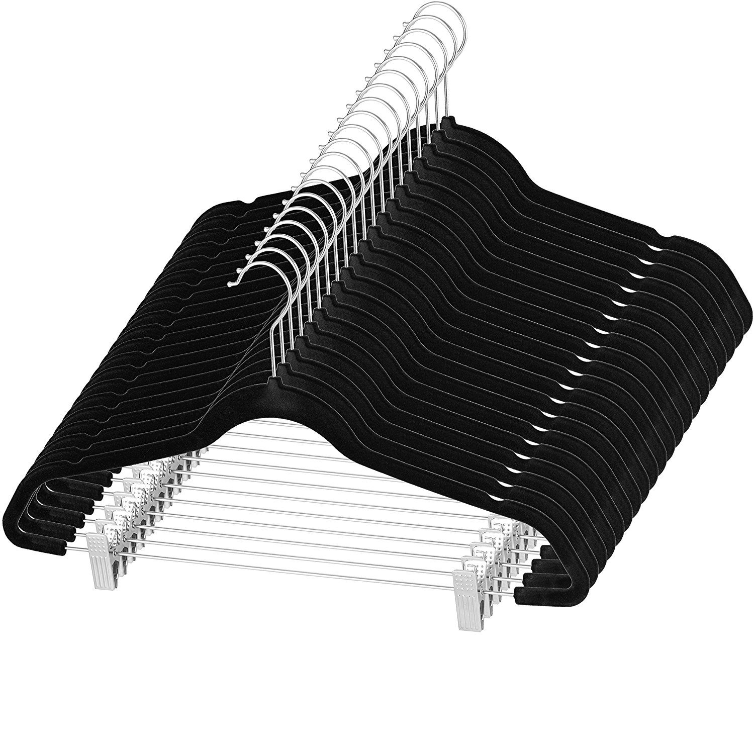 """Zober Velvet Pants Hangers with Metal Clips 17 ¾"""" x 9 ½"""", Strong and Durable 360 Degree Chrome Swivel Hook - Ultra Thin Non Slip Skirt Hangers, with Notches Set of 20 Black"""