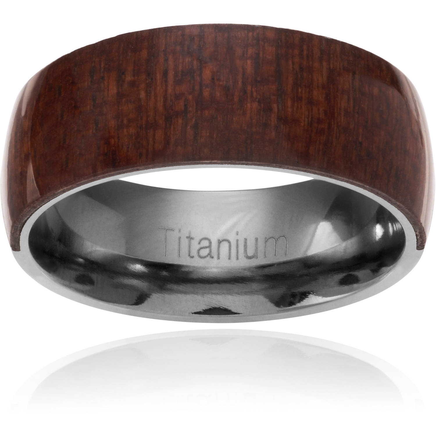 Daxx Men's Titanium Mahogany Wood Inlay Fashion Ring, 8mm