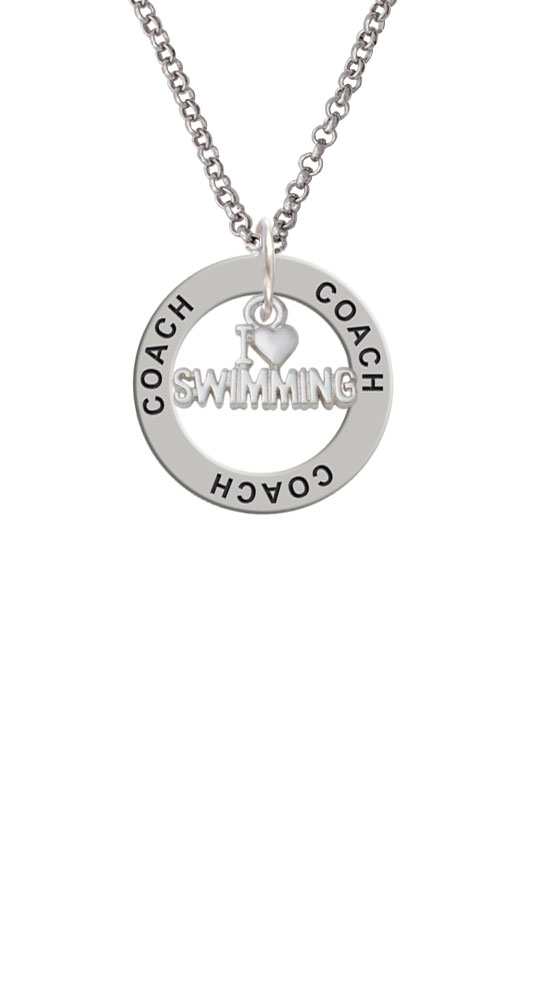I Heart Swimming Coach Affirmation Ring Necklace by Delight and Co.